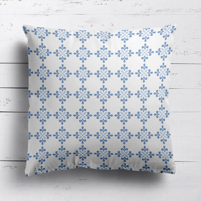 Amalfi Swish Flower Custom Cushion-  Blues and Neutrals