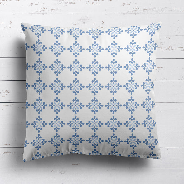 Amalfi Flower motif blue cushion