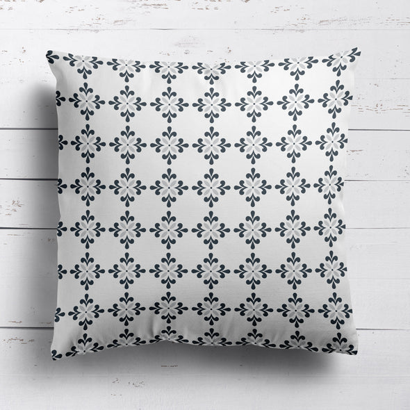 Amalfi Flower motif grey cushion
