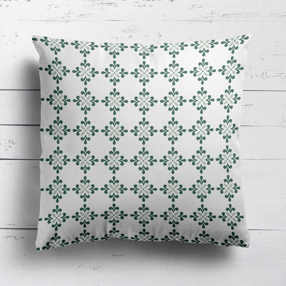 Geometric flower motif cushion green