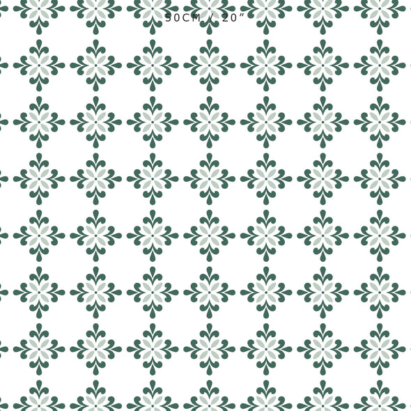 Geometric flower motif fabric green