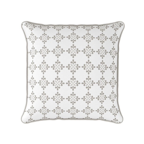 Amalfi Flower motif beige piped cushion