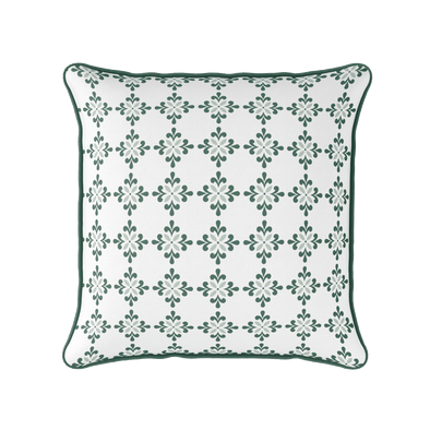 Amalfi flower motif green piped cushion