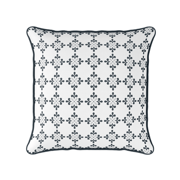 Amalfi Flower motif grey piped cushion