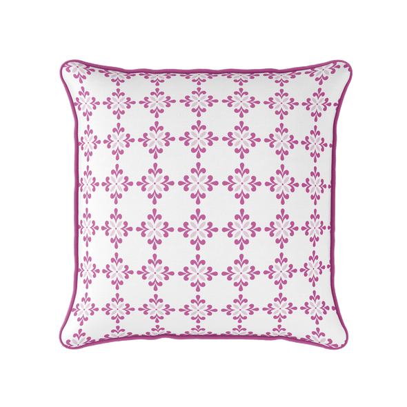 Amalfi Flower pink motif piped cushion