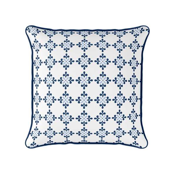 Amalfi Flower motif blue piped cushion