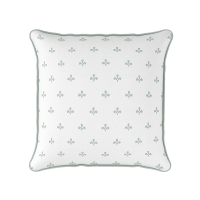 Amalfi Swish motif cotton linen cushion green