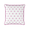 Amalfi motif raspberry pink piped cushion