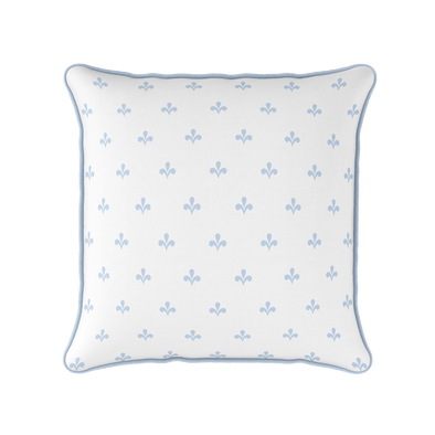 Amalfi Swish motif cotton linen cushion blue