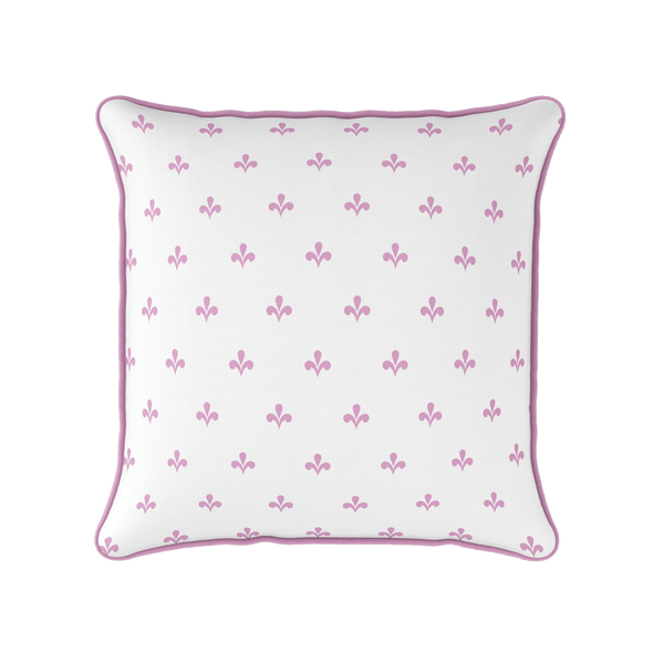 Amalfi motif pink piped cushion