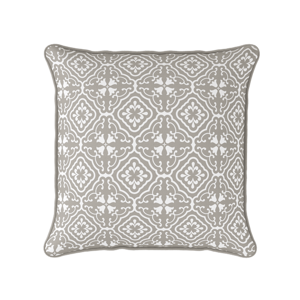taupe chateaux scroll motif pattern cushion