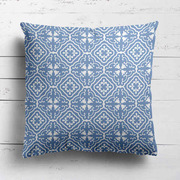 Amalfi coast scroll fabric cushion blue