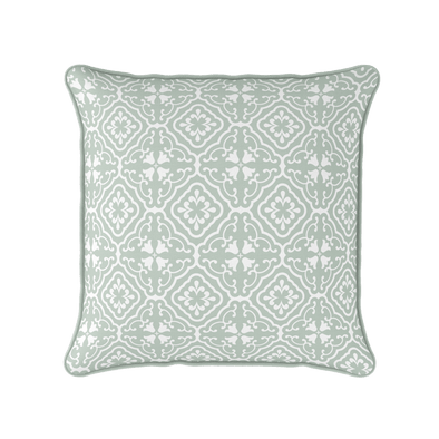 eau de nil scroll motif pattern cushion