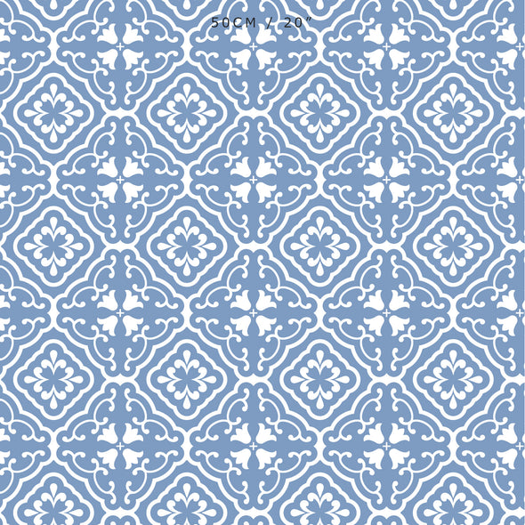 Amalfi coast scroll fabric blue