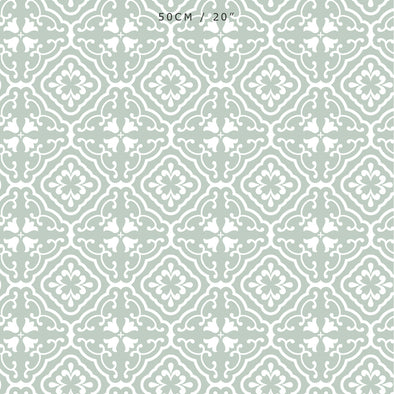 Amalfi Tulip Scroll Fabric - Eau De Nil