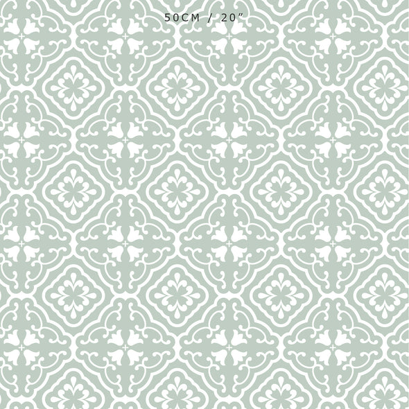 Amalfi coast scroll fabric soft green
