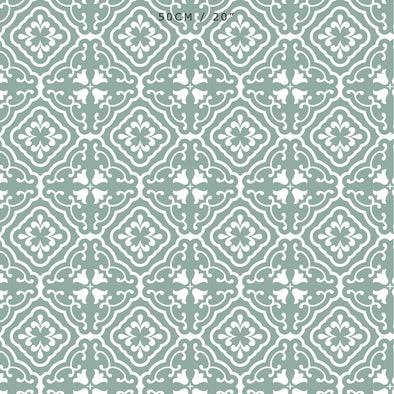 Amalfi Tulip Scroll Fabric - Eucalyptus