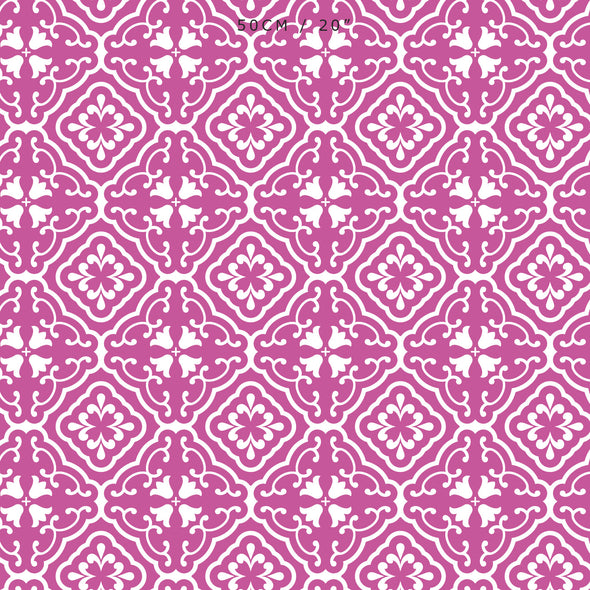 Amalfi Tulip Scroll Fabric - Raspberry