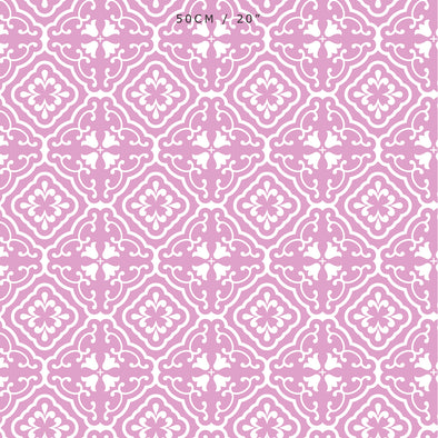 Amalfi Tulip Scroll Fabric - Tickled Pink