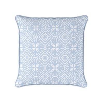 serenity blue scroll motif pattern cushion