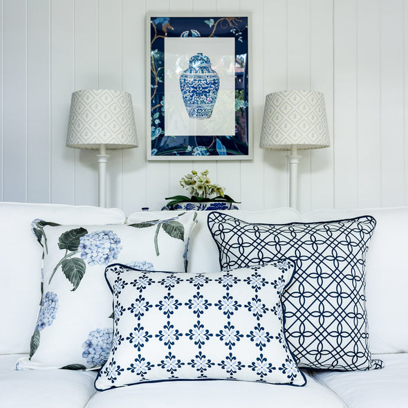 Amalfi flower blue motif cushion