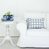 Navy blue flower motif cushion
