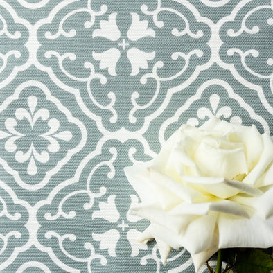 Amalfi tulip scroll fabric green