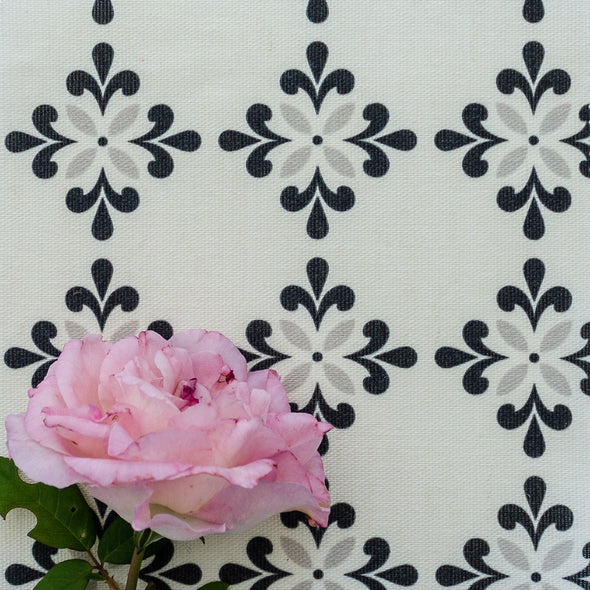 Amalfi Flower Fabric greys