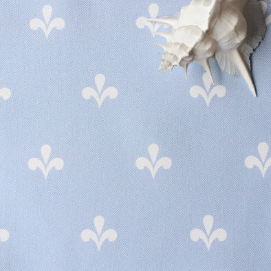 Amalfi Coast motif fabric cornflower blue