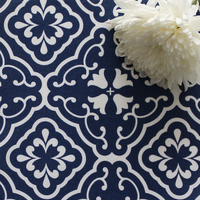 Amalfi Tulip Scroll Fabric - Navy