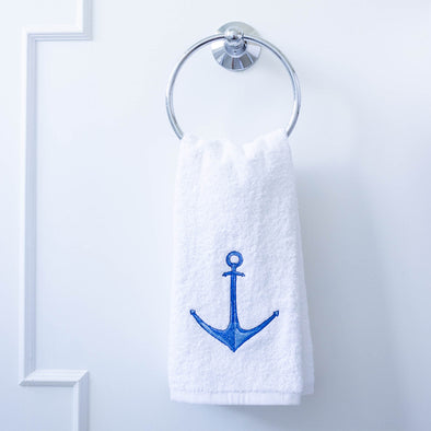 Nautical anchor hand towel