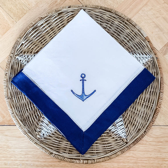 Anchor hemstitch napkin navy border