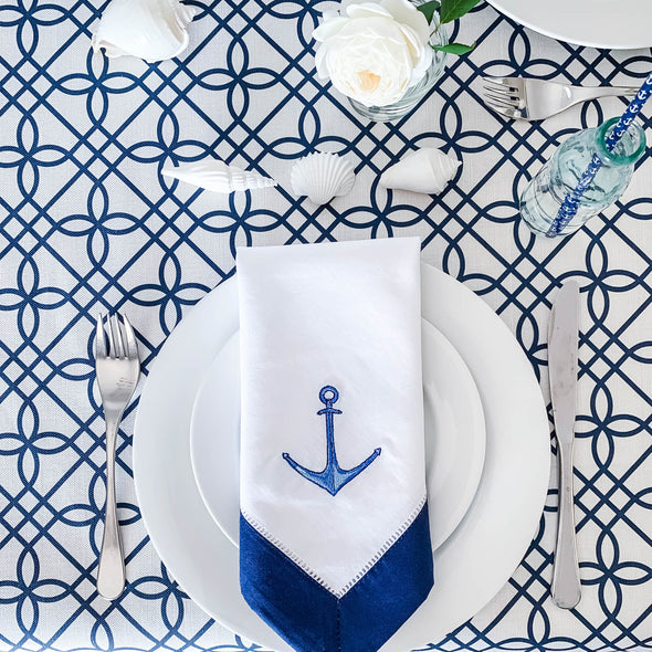 nautical anchor napkin with embroidery