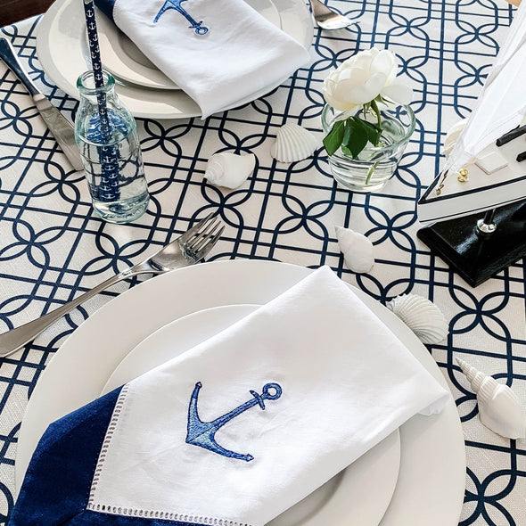 anchors and sea shells table setting
