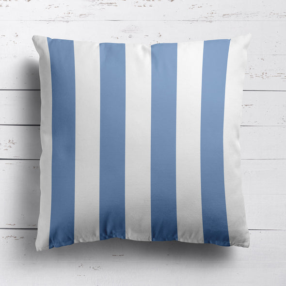 Awning Stripe cotton linen cushion Breeze blue