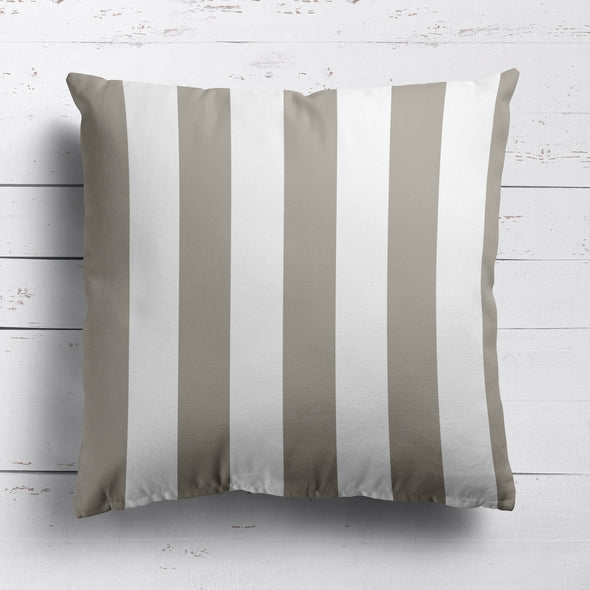 Awning Stripe cotton linen cushion Chateaux beige