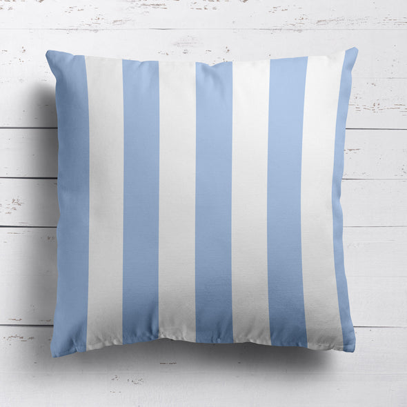 Awning Stripe cotton linen cushion Cornflower blue