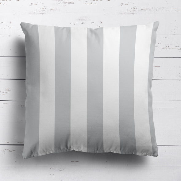 Awning Stripe cotton linen cushion dove grey