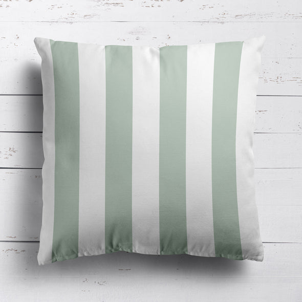 Awning Stripe cotton linen cushion Eau de Nil green