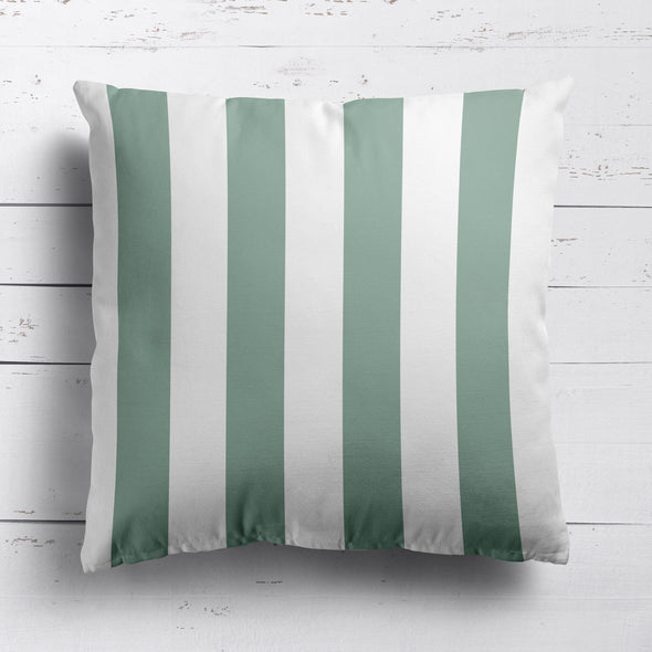 Awning Stripe cotton linen cushion Eucalyptus green