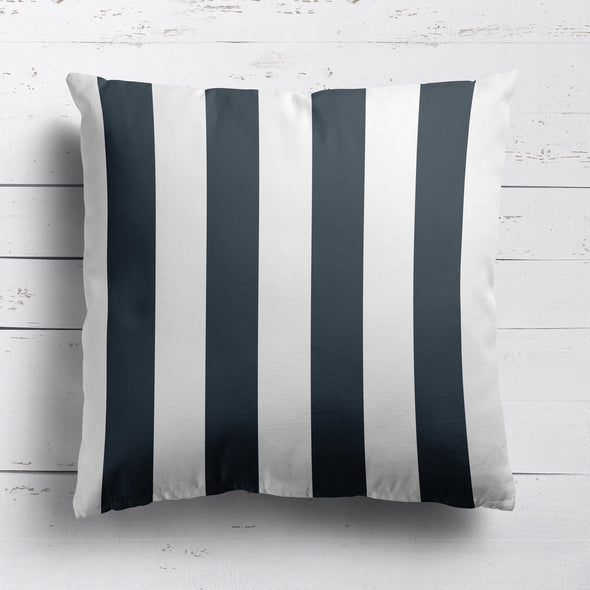 Awning Stripe cotton linen cushion graphite grey