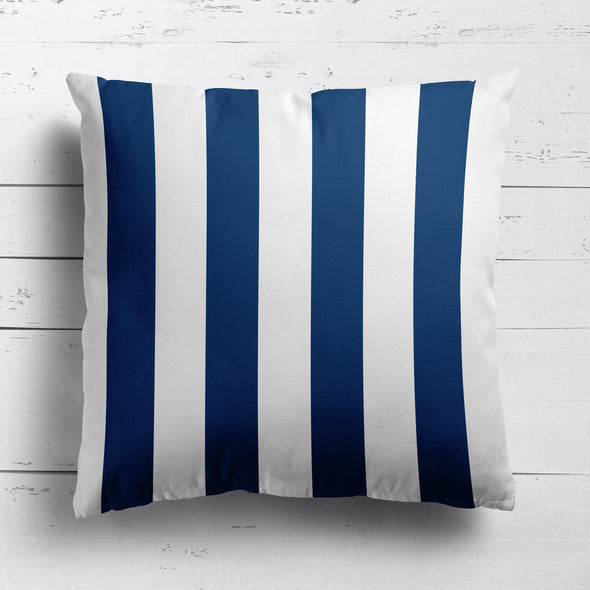 Awning Stripe cotton linen cushion Navy blue