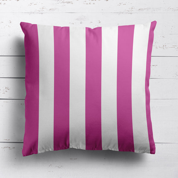 Awning Stripe cotton linen cushion Raspberry pink