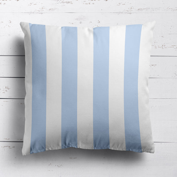 Awning Stripe cotton linen cushion Serenity blue
