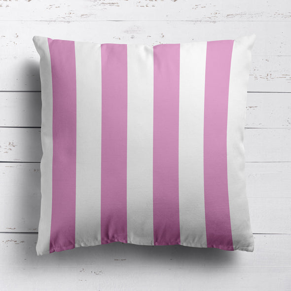 Awning Stripe cotton linen cushion Tickled pink