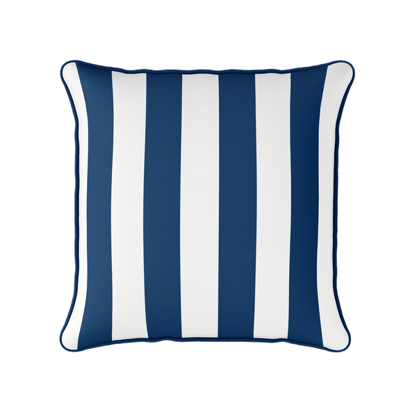 Awning stripe indoor outdoor cushion navy blue