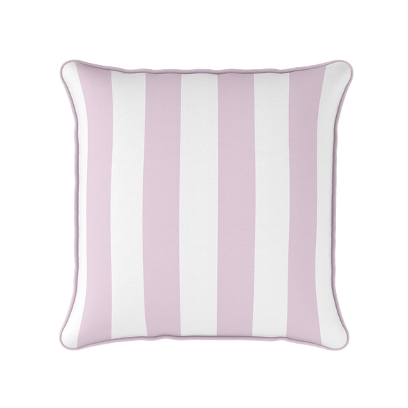 Awning stripe indoor outdoor cushion peony pink