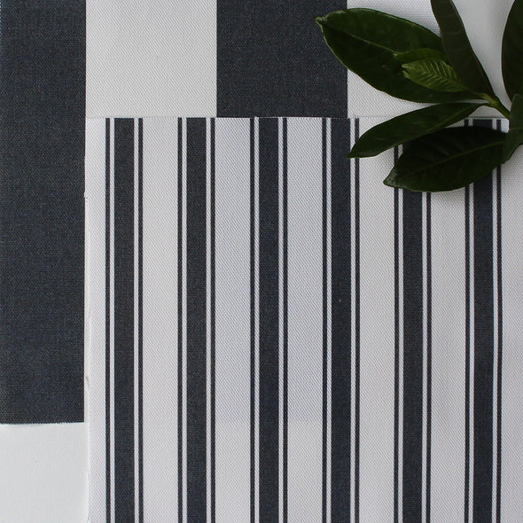 Regatta Stripe cotton linen fabric Graphite dark grey