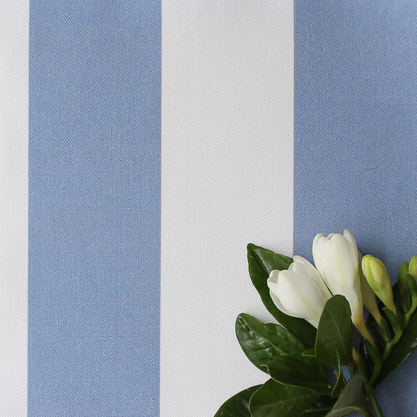 Awning Stripe cotton linen fabric in Breeze blue