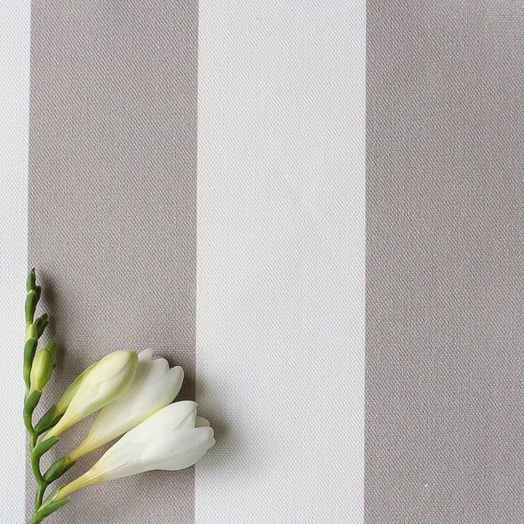 Awning Stripe cotton linen fabric in Chateaux beige